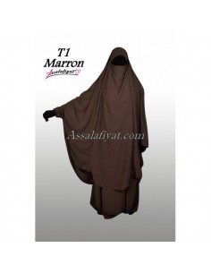 Jilbab Assalafiyat 2 pièces Marron