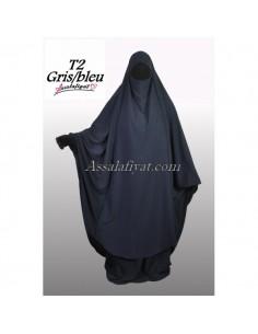 Jilbab Assalafiyat 2 pièces Gris T1