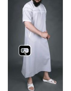 Qamis Navy Qaba'il gris/blanc