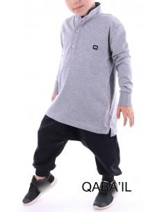 Polo Enfant Gris Clair - Qaba'il