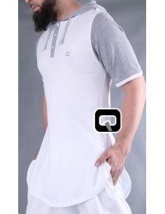 Tee Shirt Manches Courtes Avec Capuches Blanc-Qaba'il