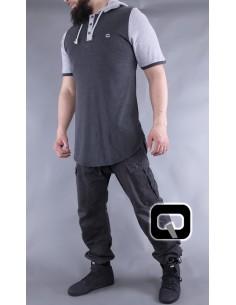 Tee Shirt Manches Courtes Avec Capuches Anthracite -Qaba'il