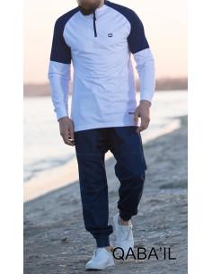Sweat Longline Qaba'il Blanc et Bleu