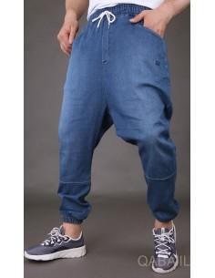 Sarouel jeans stretch bleu...