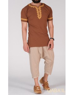 tee shirt etniz marron -qabail