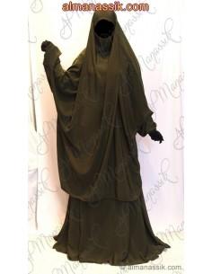 Jilbab  al manassik vert sapin jupe
