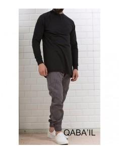 Sweat Longline Qaba'il Gris et Noir