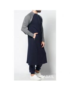 Qamis long line bleu et gris -Qaba'il