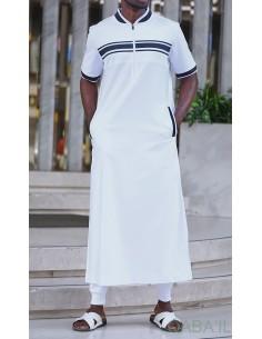 qamis navy III Blanc / bleu - Qaba'il