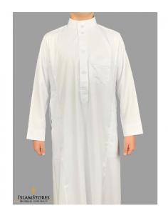 qamis saoudien enfant blanc satiné al-haramain