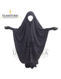 Jilbab 2 pièces Umm Hafsa à clips Gris