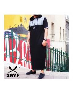 Qamis Sayf : Gris / Noir (Taille XXL)