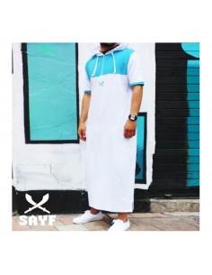 Qamis Sayf : Blanc / Turquoise (Taille XXL)